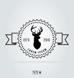 Badge labels hipster logo deer head Retro vintage vector image vector image