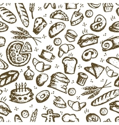Bakery seamless pattern sketch background for vector