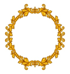 Baroque ornamental antique gold frame on white vector
