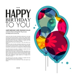 birthday card with color balloons flowers and text vector image vector image