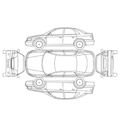 Car line draw insurance rent damage condition vector image vector image
