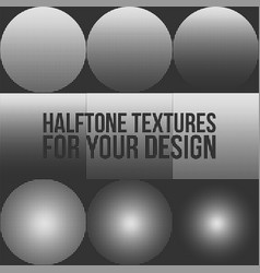 circle and square dotted halftone textures set vector image vector image