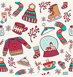 Cute christmas holiday doodle seamless pattern vector