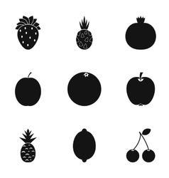 Farm fruits icons set simple style vector