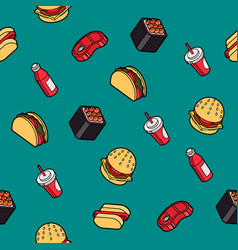 Fast food outline color isometric pattern vector