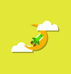 Flat icon design collection space shuttle and vector