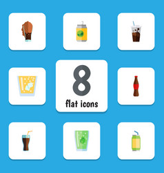Flat icon drink set of cup cola drink and other vector
