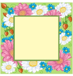 Floral frame with chamomiles vector image vector image