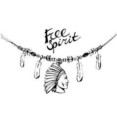 Hand drawn ink necklace boho style free spirit vector