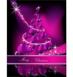 Merry Christmas background silver and violet vector image vector image