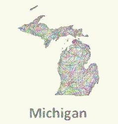 Michigan line art map vector