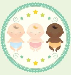 Multicultural babies sleeping vector