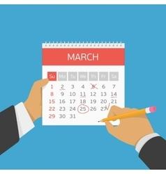 Planning calendar in hand vector