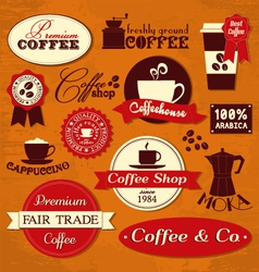 retro coffee labels vector image vector image