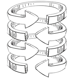Rounded spiral arrows vector image vector image