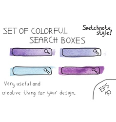 Set of colorful search boxes vector