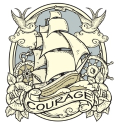 Ship Tattoo vector image