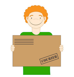 The red-haired cute courier is holding a parcel in vector