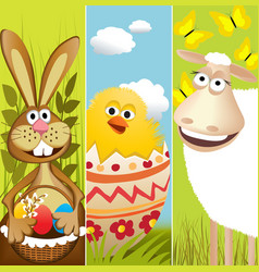 Three Easter banners vector image