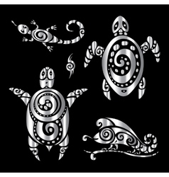 Turtle and lizards polynesian tattoo style vector