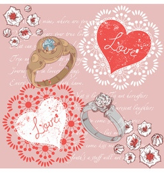 Valentine romantic retro greeting postcard vector image vector image