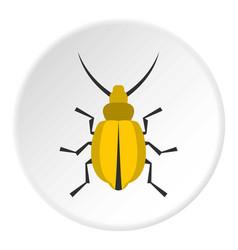 yellow beetle icon circle vector image vector image