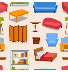 Furniture icons seamless pattern vector