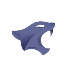 Sports sign purple cat head with open mouth on a vector image