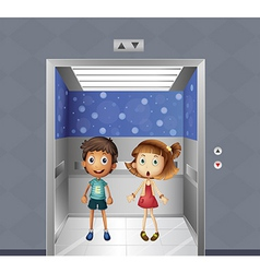 A girl and a boy inside the elevator vector
