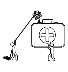 silhouette workers with pulley holding first aid vector image
