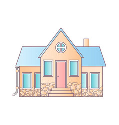 Isolated house on white flat icon suburban vector