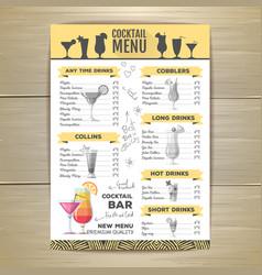 Flat cocktail menu design document template vector