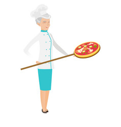 Senior caucasian chef preparing pizza vector