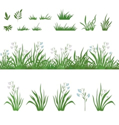 Grass and flowers seamless and sets vector
