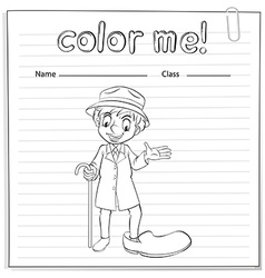A coloring worksheet with a man vector