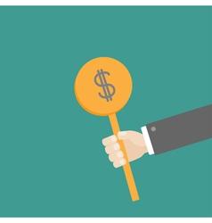 Hand businessman holding dollar coin Flat vector image