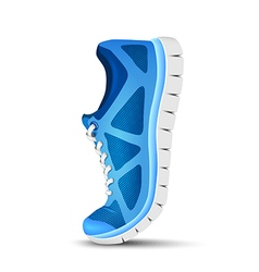 Blue curved sport shoes for running vector