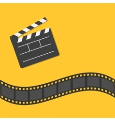 Open movie clapper board template icon film strip vector