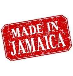 Made in jamaica red square grunge stamp vector