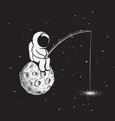Astronaut with a fishing rod vector