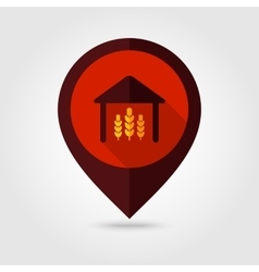 Barn flat mapping pin icon vector