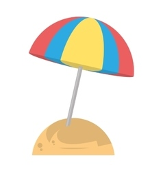 beautiful umbrella sun beach sand vector image