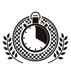 chronometer prize in monochrome with olive branch vector image