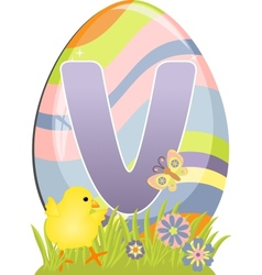 Cute initial letter V vector image