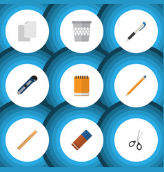 flat icon stationery set of rubber trashcan vector image vector image