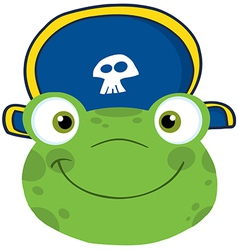 Frog Smiling Head With Pirate Hat vector image vector image