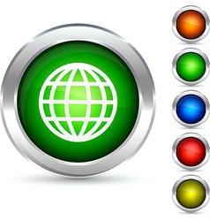Globe button vector