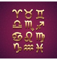 Golden zodiac symbol icons vector