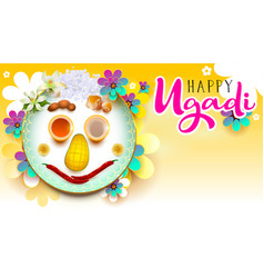 Happy ugadi text traditional indian holiday food vector