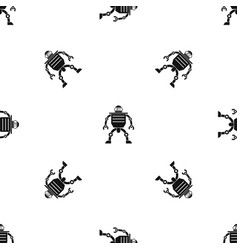 Humanoid robot pattern seamless black vector